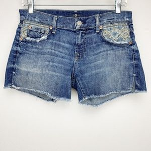 7 FOR ALL MANKIND Embroidered Jean Shorts 24